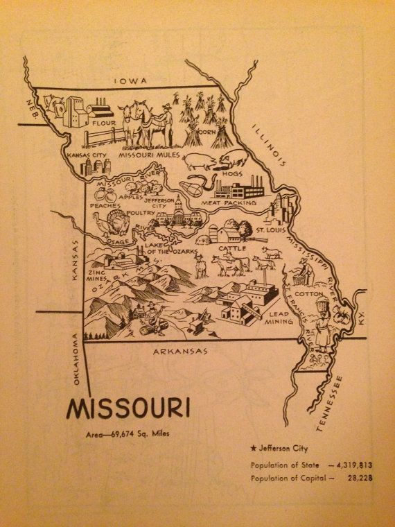 1950s Missouri Coloring Book Page By Bhetsyshop On Etsy 600