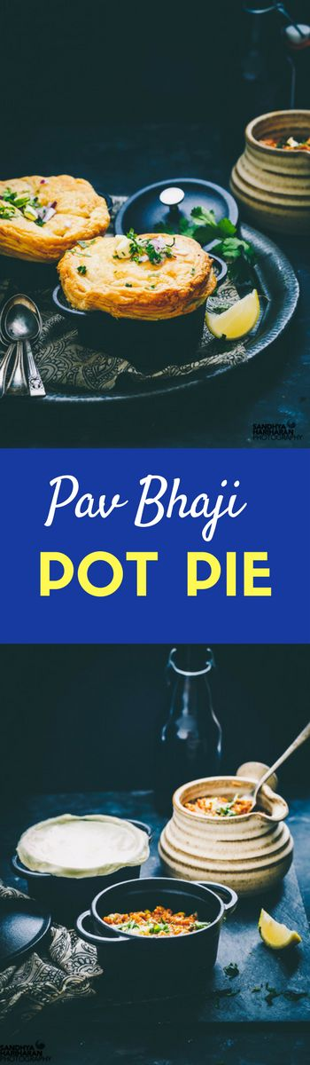 Pav Bhaji Pot Pie is a thriller street food combination of Pav bhaji ( Vegetable Medley) along with a crust of golden brown pastry. They work great as starters!