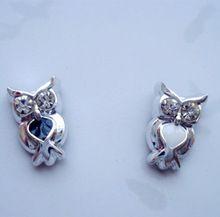 Sans oreilles Owl strass filles boucles d'oreilles magnétiques Clip sur boucles d'oreilles hibou boucles d'oreilles hibou boucles d'oreilles magnétiques(China (Mainland))