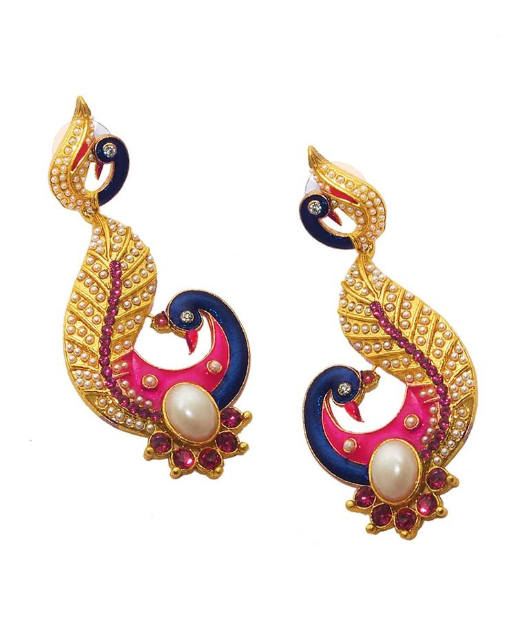 Best for wedding & engagement, Kriaa Blue And Pink Meenakari Pearl Peacock Gold Plated Dangle Earrings @ Rs. 345/- Buy now at http://www.jewelmaze.in/product/AAA0491/Earrings/Kriaa-Blue-And-Pink-Meenakari-Pearl-Peacock-Gold-Plated-Dang/?pd=EGM#.VtbBMn197IV