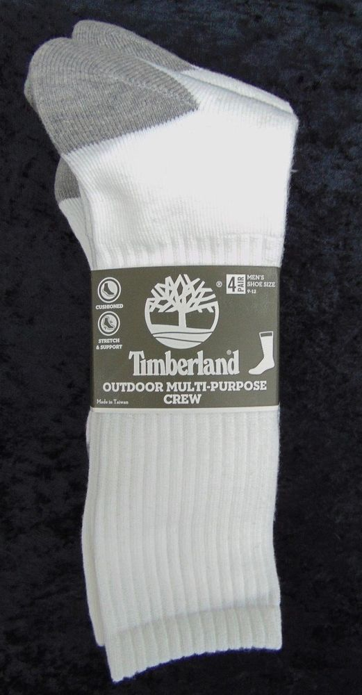 96ab23a0b6ad6 TIMBERLAND Mens 4 Pack Outdoor Multi-Purpose Crew Socks 4 Pair White Size 9-
