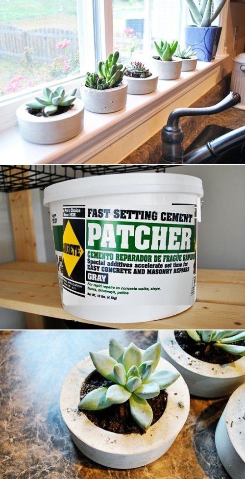 Handmade cement planters