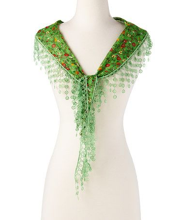 This Green & Red Floral Fringe Scarf is perfect! #zulilyfinds