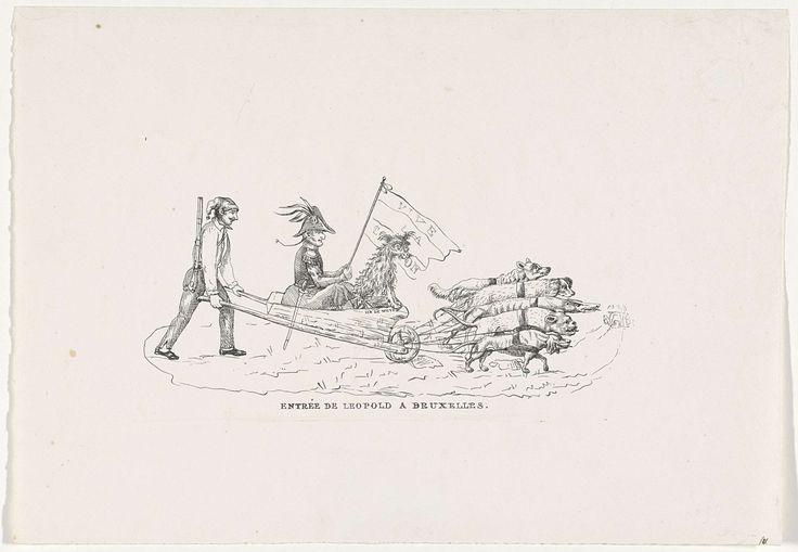 Anonymous | Spotprent op de intocht van koning Leopold I in Brussel, 1831, Anonymous, 1831 | Spotprent op de intocht van koning Leopold I in Brussel voor de inhuldiging op 21 juli 1831. De koning met zijn poedel (Sylvain van de Weyer) zittend in een kruiwagen voortgeduwd door een Belgische opstandeling en getrokken door vijf honden (de vijf grote mogendheden).
