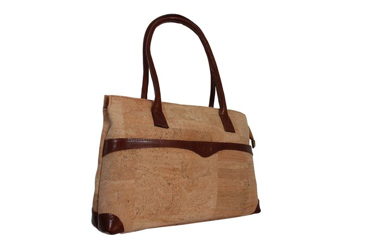 Cork Handbag Caroline | Two compartments | Leather details
