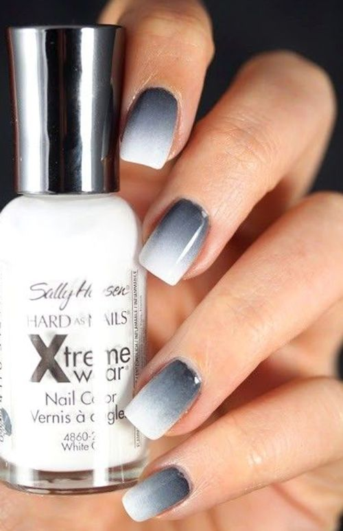 Grey to white ombre nails. Love this twist on the classic French, but still practicing myself. ♡