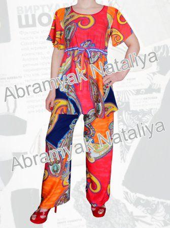 47$ Летний брючный костюм из штапеля для полных девушек Артикул 665, р50-64 Женские костюмы большие размеры  Женские костюмы с брюками большие размеры Штапельные брючные костюмы большие размеры Летний брючный костюм большие размеры