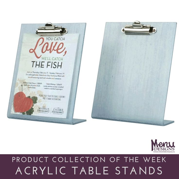 Our Product Collection of the Week: Acrylic Table Stands. Our popular acrylic table tent holder can be a basic or customized product, which makes it one of our most versatile table tent holders. Our acrylic table menu holders, available in various sizes and styles, and are great for restaurants, bars and hotels, but also any retail establishment. The acrylic table tent holder neatly holds your inserts and protects your insert. #menudesigns #menu #restaurant #hotel #acrylic #tablestands…
