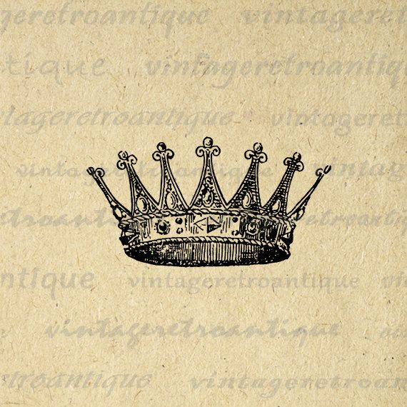 Printable Image Crown Graphic Digital by VintageRetroAntique