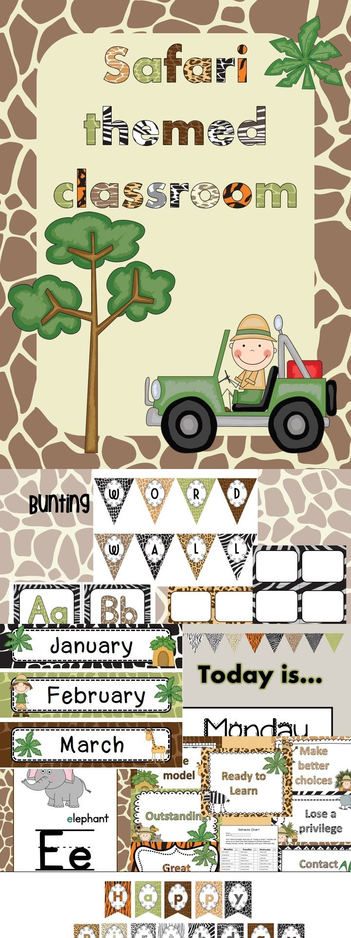 Print, laminate, and cut to decorate your classroom with these cute animal print patterns. This product contains some files that can be edited. Simply insert a text box and type what you need.