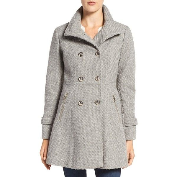 Women's Jessica Simpson Fit & Flare Officers Coat ($160) ❤ liked on Polyvore featuring outerwear, coats, grey, double breasted coat, jessica simpson coats, gray coat, grey double breasted coat and grey coat