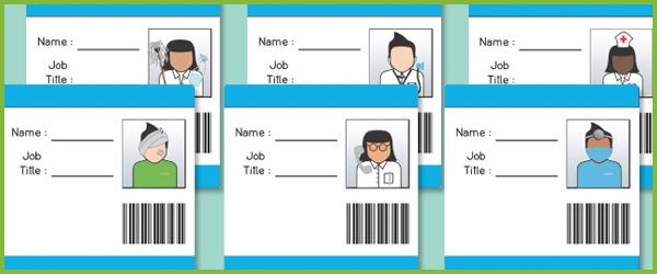 Hospital Role Play ID Badges...A collection of hospital ID badges, ideal to use in role-play scenarios in your school or early years setting. There is a space for children to write their name and occupation as well as to draw a picture of themselves.