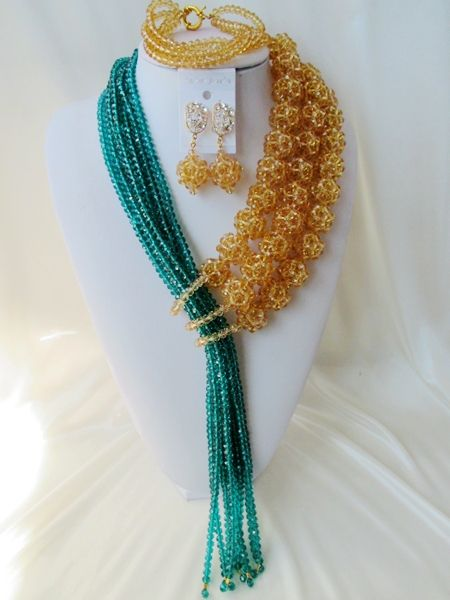 Хиты 2014 продажа ювелирных изделий комплект ювелирных модные свадебные бусины в нигерии африка невесты костюм кристалл ожерелье браслет Aa686