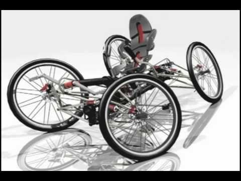 "GBO / Carv-X... Recumbent quad concept... wheels ""tilt"" on turns"