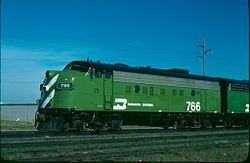 Beautiful Burlington Northern green with tiger stripes...now BNSF.....