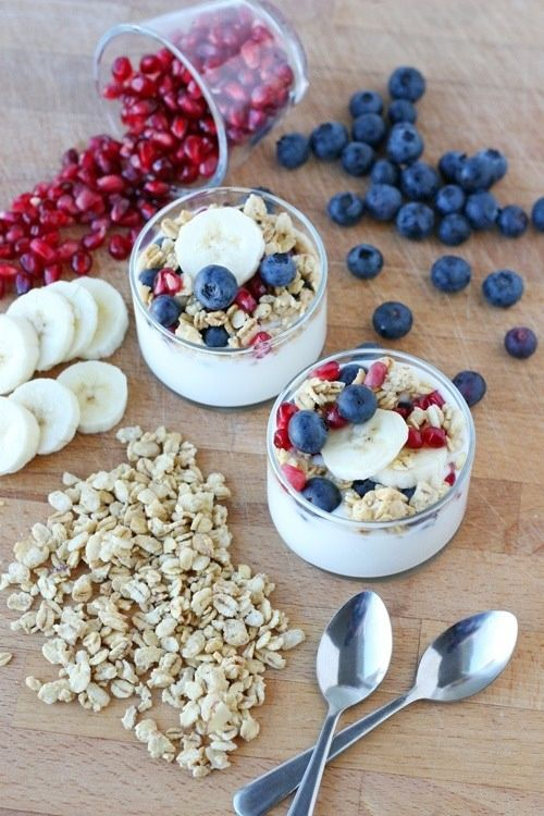 Fantastic skinny dessert recipe or Breakfast - Greek Vanilla or Honey Yogurt, Granola, Blueberries, Bananas, Pomegranate Seeds. #charlottepediatricclinic