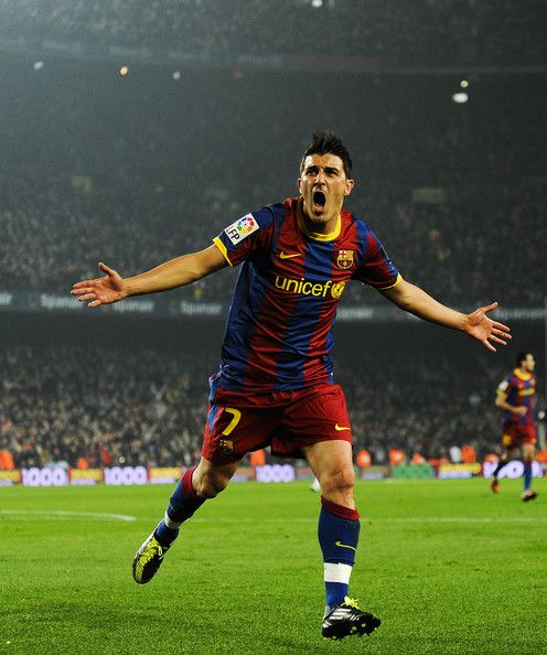 David Villa - Sporting Gijon, Real Zaragoza, Valencia, Barcelona, Atletico Madrid, Spain.