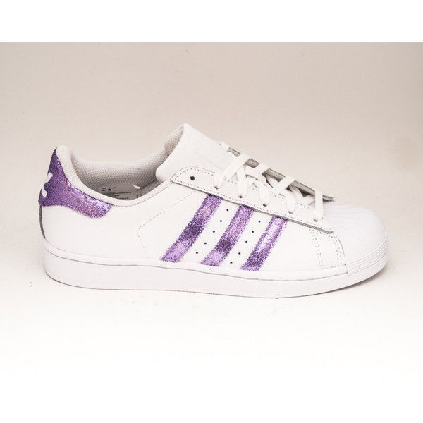 Glitter Lavender Light Purple Adidas Superstars Ii Fashion Sneakers... ($200) ❤ liked on Polyvore featuring shoes, sneakers, silver, sneakers & athletic shoes, tie sneakers, women's shoes, tie shoes, polish shoes, light purple shoes and shiny shoes