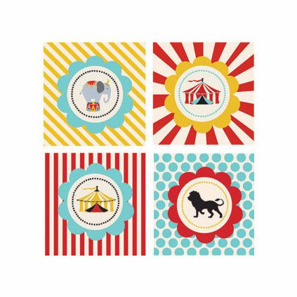 Circus Carnival Party Decorative Favor Tags (Set of 20)
