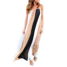 Two-tone stripe Beach Dress Womens Sexy Chiffon Loose Summer Print Gallus Sleeveless Floor-Length Long Dress Vestidos De Festa(China (Mainland))