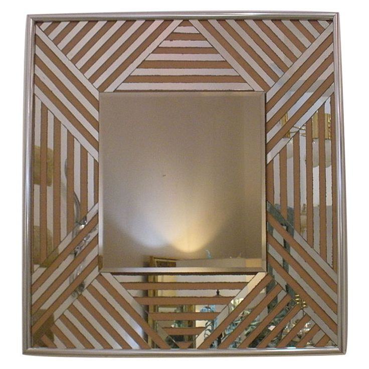 Vintage 1970s Zig Zag Mirror with Chrome Edge