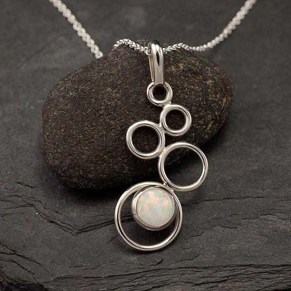 Opal Necklace- Opal Pendant- Sterling Silver Necklace with Opal- Opal Jewelry- Sterling Silver Jewelry Handmade