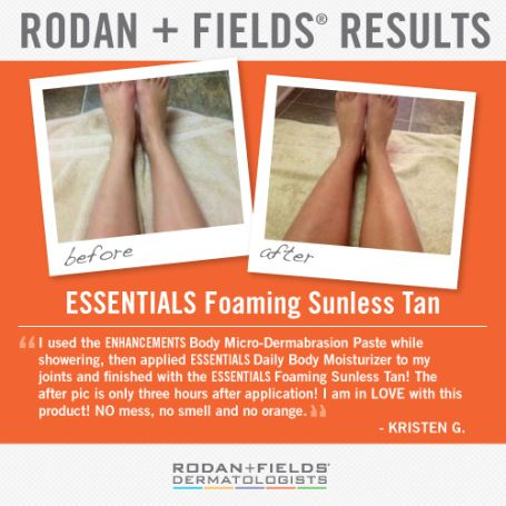Before and after of Rodan + Fields ESSENTIALS Foaming Sunless Tanner. My favorite self-tanner and only $26! Friends ~ Message me for an insider deal before June 1st. ;)
