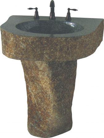 36 Inch Vessel Sink Pedestal with Natural Granite Boulder Sink