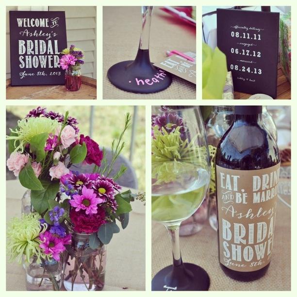 Wine themed Bridal Shower, screen printed chalk boards. Design by Stella Bella Invites