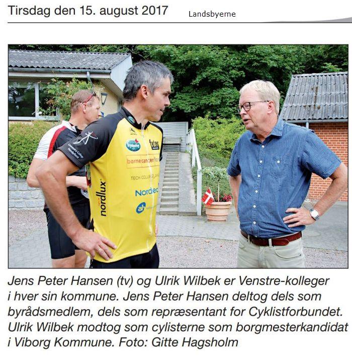 En fin cykeltur med Team Bodenhoff, der samler penge ind til kræftramte børn, blev også benyttet til en politisk og arbejdsmæssig snak med Ulrik Wilbek - vi snakkede om vindmøller og HIBHIB politikere (Hovedet i Busken - Halen imellem Benene)