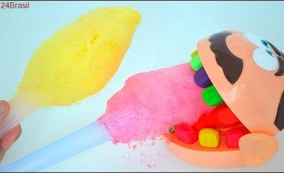 Jose Play-Doh Dentista e Maquina de Fazer Algodao Doce Colorido Comendo Tudo!!! TotoyKids