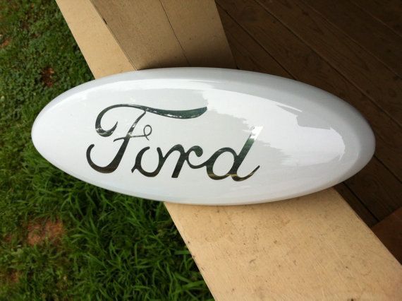 Ford Emblem White and Chrome Fits Ford F-150 by CustomizedEmblems