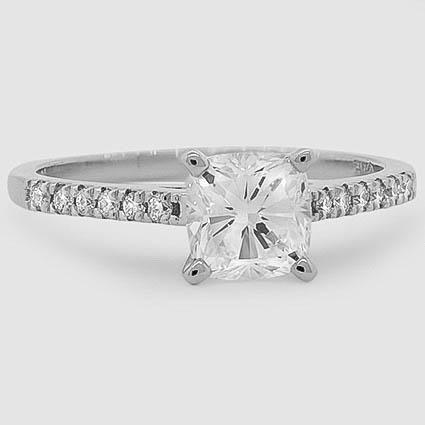 Heart Cut Sonora Classic Diamond Engagement Ring – 18K White Gold (Setting Price)