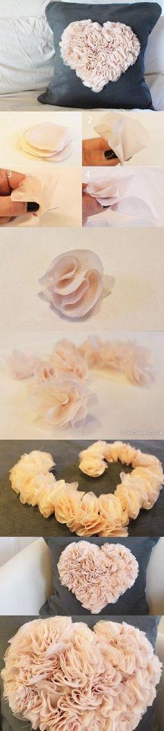 Heart Pillow - DIY Decorating Pillows Ideas [ http://Wainscotingamerica.com ] #DIY #wainscoting #design