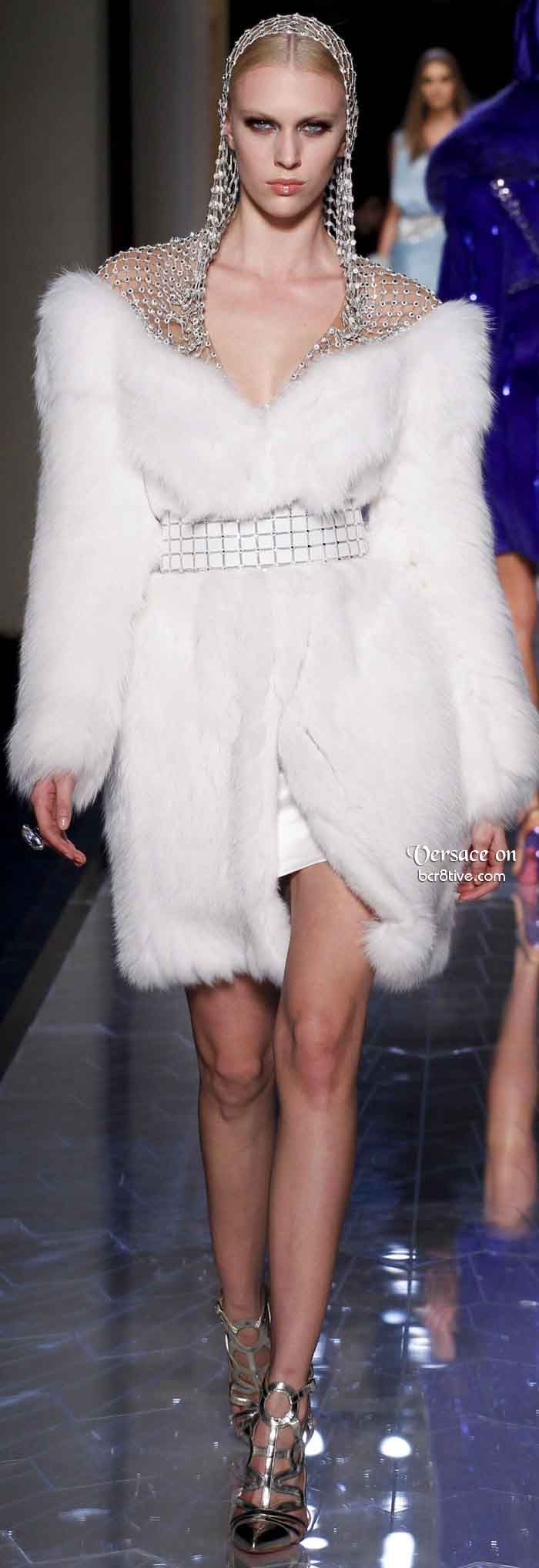 Beautiful Faux Fur Dress With Metal Mesh Headwear. Versace Spring 2014 Haute Couture
