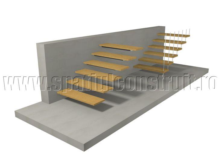 Staircases: general concepts & classifications/ Scari: notiuni generale, clasificari >> Hanging steps staircase/ Scari cu trepte portante