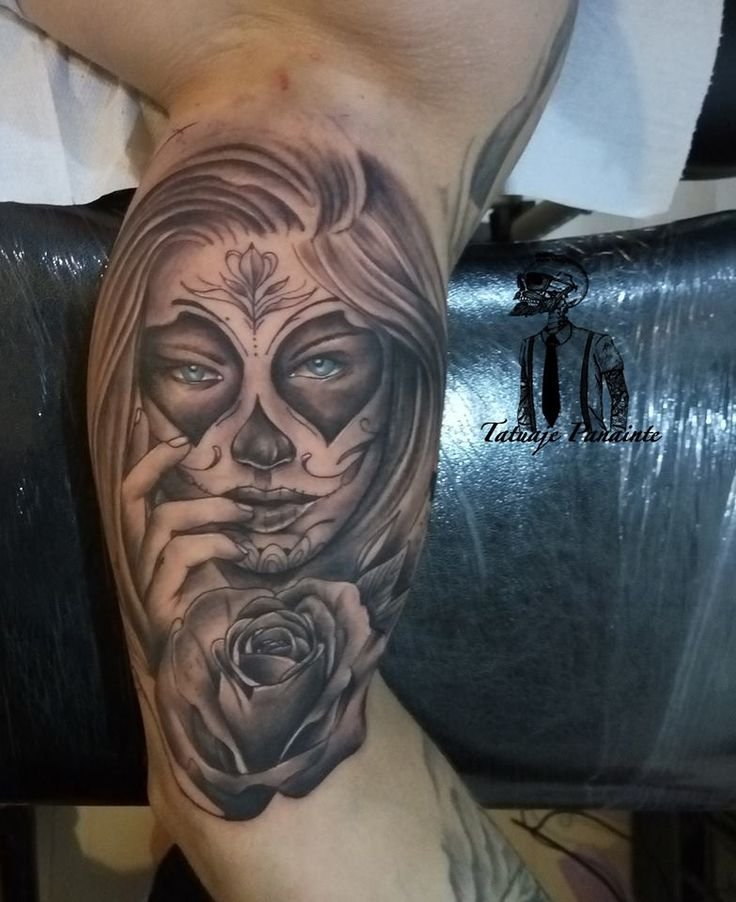 #woman #portrait #tattoo #dayofthedeath #rose