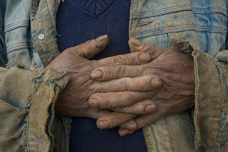 Potato farmer's hands