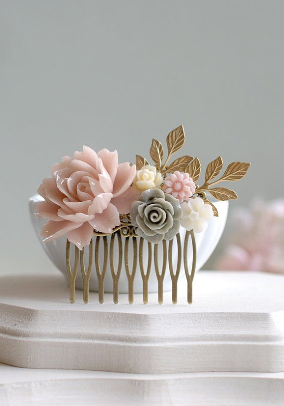 Blush Pink, Grey, Ivory Flower Hair Comb, Dusty Pink Rose Gold Leaf Branch Hair Comb, Pink and Grey Wedding, Shabby Chic, French Country