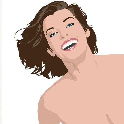 Flat design portrait Milla Jovovich