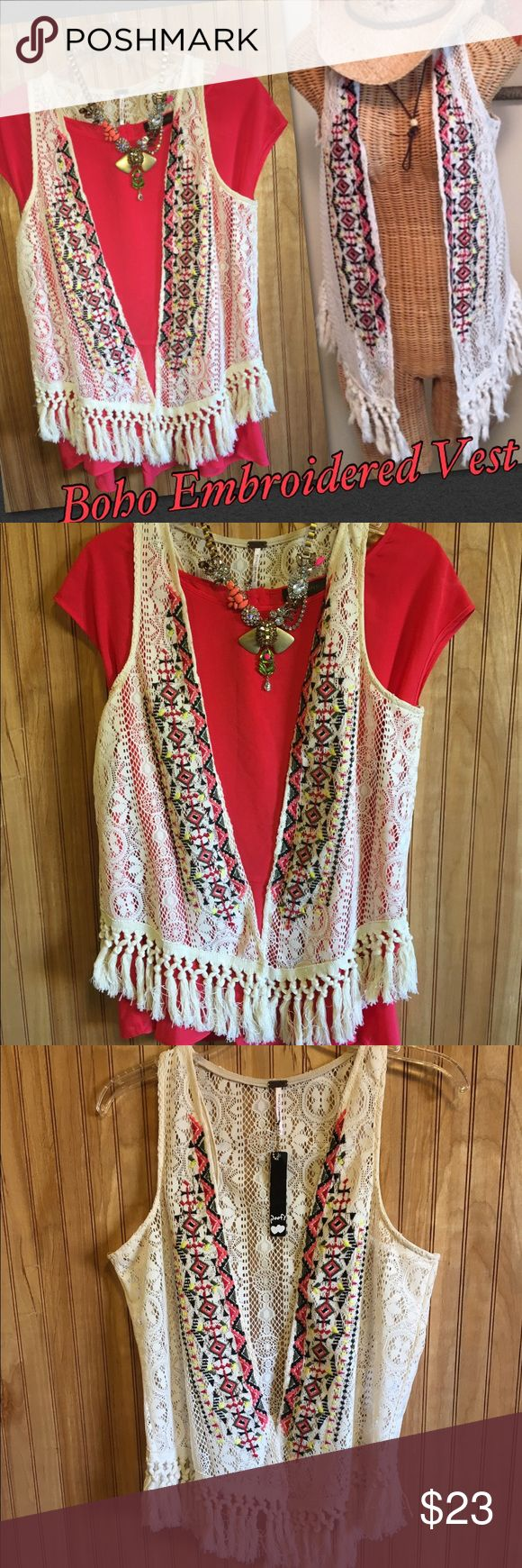 🆕Chic Boho Embroidered Vest Sz S & L Super cute Embroidered lace vest that's perfect for festivals, going out, or just a day on the town. Lightweight lace with Embroidered edges and tassels on the bottom. Boutique brand similar to Free People. NWT. Poof! Jackets & Coats Vests