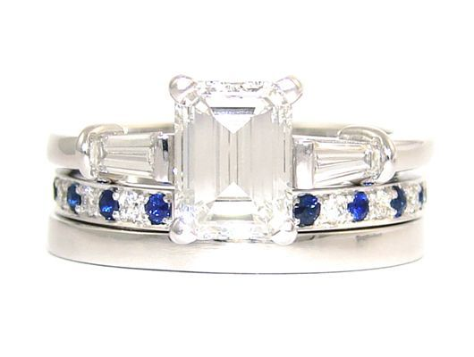 Emerald 1.2ct D IF with 2 x 0.3ct F VS Tapered Baguettes set in White Gold with matching Diamond and Sapphire Eternity Ring and Wedding Band