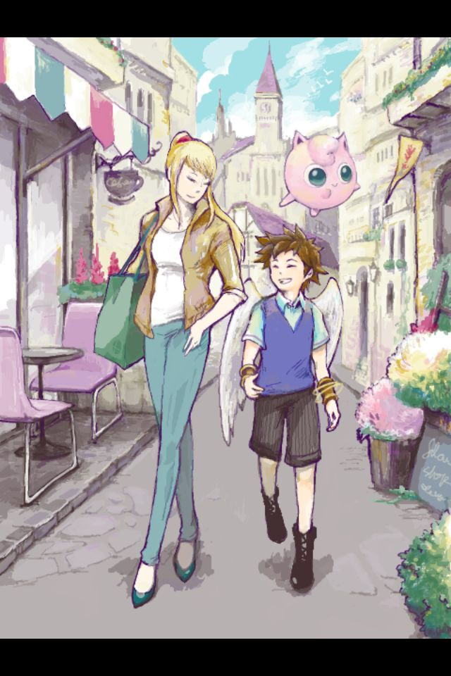 Casual Smash Brothers - Samus and Pit// One day I'll make my Smash Bros fanfiction, and all I'll be able to think of is this pic with these characters....