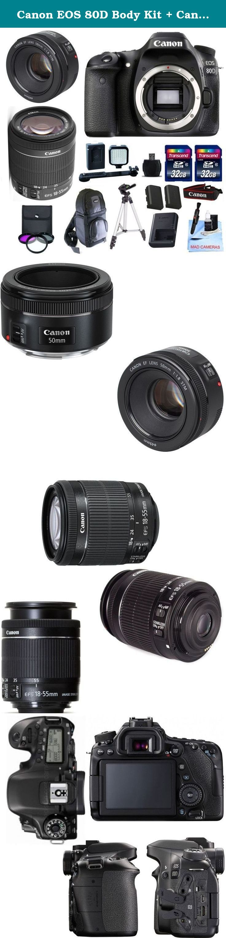 """Canon EOS 80D Body Kit + Canon 18-55mm IS STM + Canon 50mm 1.8 STM Video/ Portrait Lens + 2 32GB Transcend SD Memory Cards + LED Video Light Kit & More - International Version. The Canon EOS 80D DSLR Camera Features: 24.2MP APS-C CMOS Sensor DIGIC 6 Image Processor 3.0"""" 1.04m-Dot Vari-Angle Touchscreen Full HD 1080p Video Recording at 60 fps 45-Point All Cross-Type AF System Dual Pixel CMOS AF Expanded ISO 25600, Up to 7 fps Shooting Built-In Wi-Fi with NFC RGB+IR 7560-Pixel Metering…"""