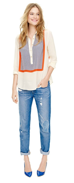 blouse + jeans @J.Crew