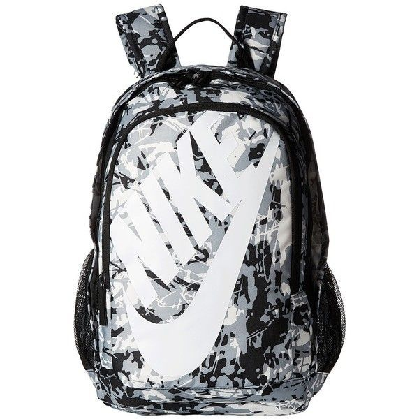 Nike Hayward Futura 2.0 - Print (Black/Black/White 2) Backpack Bags ($60) ❤ liked on Polyvore featuring bags, backpacks, patterned backpacks, nike bags, strap backpack, print backpacks and nike backpacks