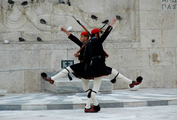 in front of the Unknown Soldier's Monument, Athens, Greece