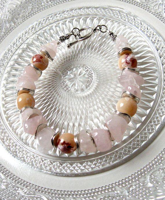 Simple Rose Quartz and Glass Bead Everyday Bracelet by SunEnerChic