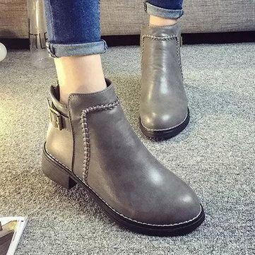 Novas botas mulheres pu salto baixo rodada toe moda tornozelo confortáveis botas curtas