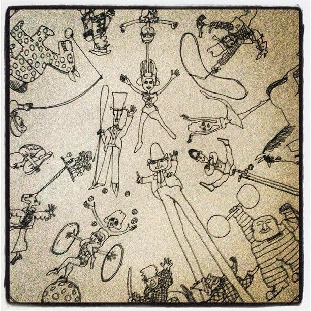 """mikainstagram """"Pencil drawing from Mr Benn book, in my living room. David McKee is such a good illustrator."""" Sept 2012"""